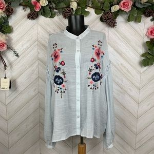 Charming Charlie Blue Embroidered Shirt XL